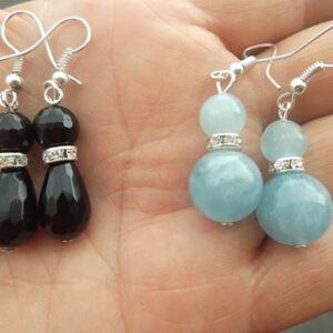 Earings Onyx/Rhinestone