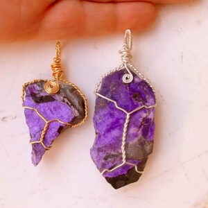 Sugilite wire wrap pendants