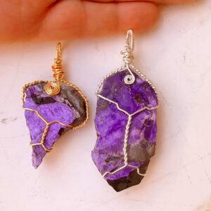 Sugilite wire wrap pendants